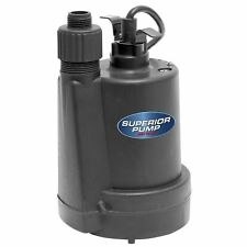 Submersible Water Utility Pump 1/5 HP Thermoplastic Sump Garden Hose Adapter
