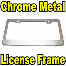 1PC CHROME STAINLESS STEEL METAL LICENSE PLATE FRAME + SCREW CAPS TAG COVER/CF a