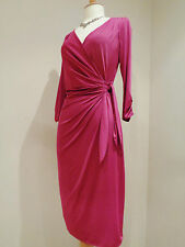 COAST MAGENTA PINK JERSEY FAUX WRAP CARLTON DRESS SZ 8