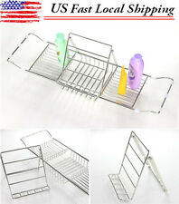 Adjustable Bath Tub Caddy Spa Tray Read Book Stand Wine Glass Candle Holder Rack