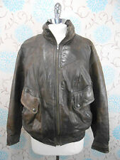Vintage 1980s Men's Dark Brown Leather Flying Aviator Bomber Style Jacket Coat M