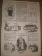 Monk's Barn and Old Free School Lincoln 1848 old print and article