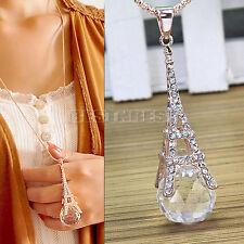 Mode Collier Tour Eiffel Fantaisie Bijoux Boule En Faux Diamant Strass Alliage