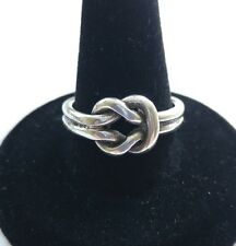 Vintage MEXICO Double Band 925 Sterling Silver Love Knot Ring Sz 7.5