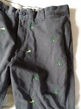 J CREW blue golf clubs critter embroidered broken in khakis pants 34x30