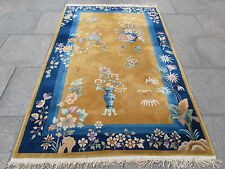 Antique hand made tapis art deco chinois oriental tapis bleu or laine 233x152cm