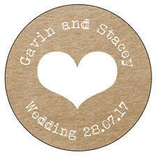 35 x HEART Personalised Wedding Shabby Brown Kraft Effect Favour Stickers - 020
