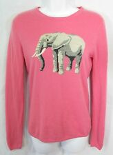 J Crew Size S 100% Cashmere Pink Intarsia Elephant Sweater SUPER RARE