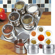 6 Pcs Magnetic Herb Spice Rack Tin Jar And Holder Stand Stainless Steel Magnet