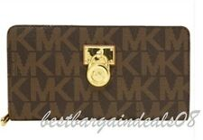 MICHAEL KORS HAMILTON ZIP AROUND CLUTCH LG BRN/LUGG 35T6GHXZ1B CLUTCH