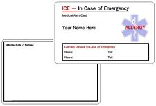Allergy  ICE - In Case of Emergency - Medical Alert ID Card .
