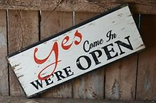 Yes We're Open No We're Closed Distressed Large Wood Sign Shabby