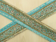 Vintage Indian Sari Border Hand Beaded Trim Sewing Blue Antique Ribbon Lace 1YD