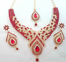Indian Bollywood Gold Red Crystal Jewellery set Necklace Earring and Tikka