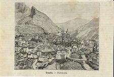 Stampa antica TENDA Veduta panoramica Cuneo Piemonte 1891 Old antique print
