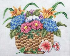 LG. Nantucket Basket of Flowers handpainted Needlepoint Canvas by Silver Needle