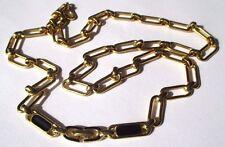 collier plaqué or bijou rétro vintage top qualité maillon long émail noir 3431