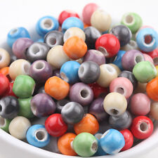 Lots 50Pcs Mixed Round Shape Ceramic Solid Loose Spacer Beads Findings DIY 6mm