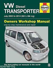 Haynes Car Workshop Repair Manual VW Volkswagen Transporter T5 (03 - 14) Diesel