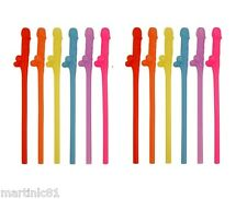 12x COLOURFUL WILLY STRAWS STRAW SUCKING HEN PARTY NIGHT DO ACCESSORIES DRINKS