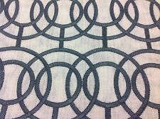 Beacon Hill Embroidered Geometric Circles Linen Fabric- Crosby/Titanium 1.40 yd