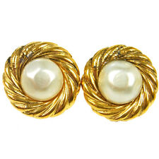 """Authentic CHANEL Vintage CC Logos Imitation Pearl Earrings Clip-On 1.1 """" V13087"""