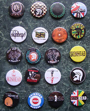SKINHEAD COLLECTION 20 x 25mm BUTTON BADGES SET 3 REGGAE SKA SCOOTER TROJAN SKIN