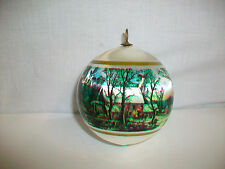 Vintage Silk Advertising Ornament Ball HOYT LAKES COMMUNITY CREDIT UNION MN