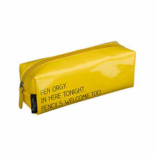Happy Jackson Stationery Glossy Yellow Pen Orgy Pencil Case Zipper Fun Novelty