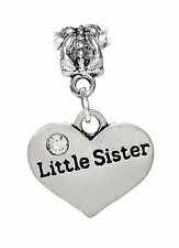 Little Sister Heart Younger Sibling Gift Dangle Bead for European Charm Bracelet