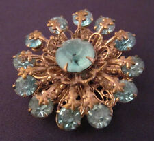 Vintage Brooch Pin Teal Blue Crystal Rhinestone Gold Filigree Jewelry 431d