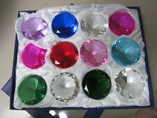 12Large Crystal Diamond Cut Multi Colour Glass Gem Stones Paperweight Gift 5.5cm