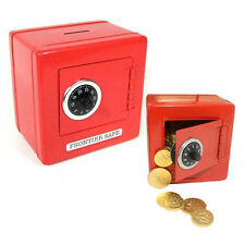 RED Steel Safe with Combination Lock for Cash Coin Slot Piggy Bank NEW
