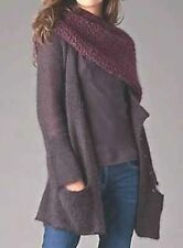 NWT Eileen Fisher DEEP PURPLE Long Mohair Cardigan XL $278