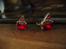 Vintage Oval Ruby Red Crystal Clip - On Earrings. Signed. Rhodium Plated.