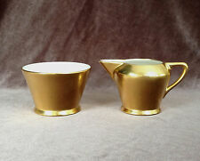 PICKARD GOLD BAROQUE Sugar Creamer Set #486 Etched Daisy Rose Pattern c. 1930s