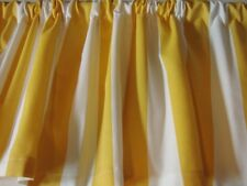 Valance Yellow and White Stripe Cotton Duck Custom Made Topper Window Treatment