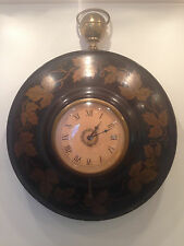 Antique Brass LUXOR SA Toleware Round Wall Clock Metal Case Swiss Movement Runs!