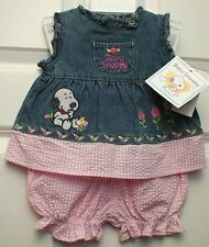 Peanuts Baby Snoopy Girls 2-Piece Outfit Denim Dress & Shorts Size 3-6 Months