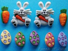 EASTER EGG HUNT - Spring Chocolate Bunny Rabbit Carrot Dress It Up Craft Buttons