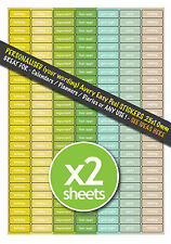 2x A4 Sheets PERSONALISED Calendar Planner Diary Organiser Office Stickers