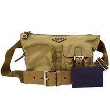 Authentic PRADA MILANO Logos Bum Bag Nylon Leather Beige Made In Italy 09U604