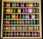 Fly Tying 72 spool lurex wires flosses wools wooden box sliding lid