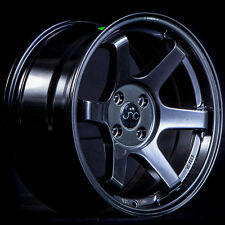 16x8 JNC TE37 Style 007 4x100 20 Matte Black Wheel Rim set(4)