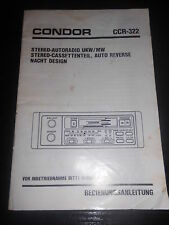 Bedienungsanleitung Autoradio Condor CCR-322 Instruction Manual Einbau Hifi