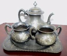 RICHFIELD PLATE CO 3 PIECE SILVER TEA SET & WARMING TRAY ORNATE 1800'S VICTORIAN