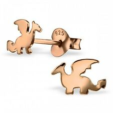 Sterling Silver 925 Rose Gold Mythical Dragon Stud Earrings