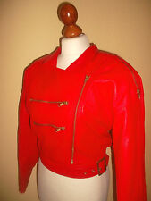 rote vintage 80`s Motorrad Lederjacke motorcycle punk leather jacket Gr.36 S