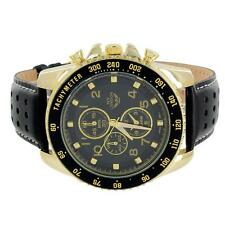 Mens Tachymeter Watch 3 Timezone Look Black Dial Leather Band Gold Tone Elegant