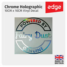 Powered By Fairy Dust CHROME HOLOGRAPHIC Fuel Cap Cover Car Sticker Decal